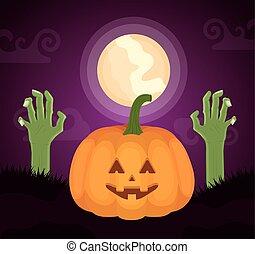 halloween dark scene with pumpkin and sombie hands vector illustration