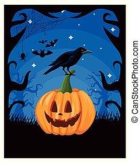 halloween dark scene with pumpkin in night