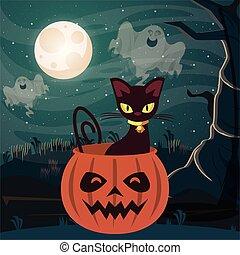 halloween dark scene with pumpkin