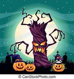 halloween dark scene with pumpkins in cemetery