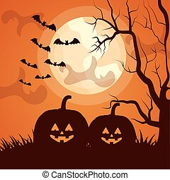 halloween dark scene with pumpkins