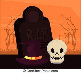 halloween dark scene with skull in cemetery