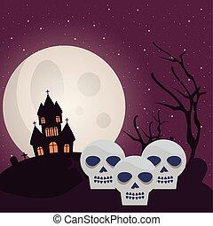 halloween dark scene with skulls and castle