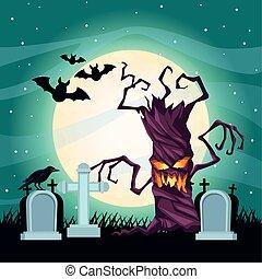 halloween dark scene with tree in cemetery