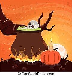 halloween dark scene with witch cauldron
