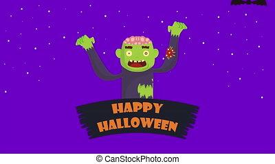 halloween dark scene with zombie and bats flying ,4k video ...