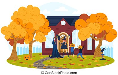 Halloween day, creepy family holiday, scary black clothes, autumn outdoor trees, design, cartoon style vector illustration.
