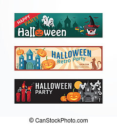 Halloween Day Party Banner Template Design.