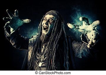 halloween dead pirate - Horror novel character. Aggressive...