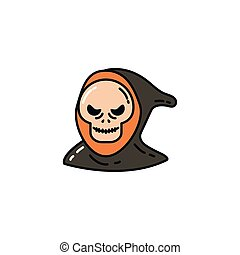halloween death face flat character