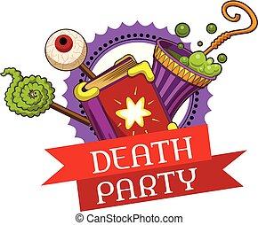 Halloween death party logo, cartoon style