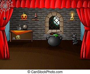 Halloween decorated room on stage illustration