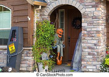 Halloween Decoration on House Front Door