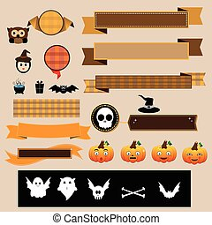 Halloween decoration vector ribbons