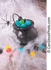 halloween decoration with cobweb,spider and cauldron