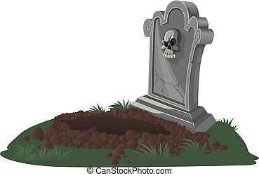 Halloween decorations tombstone and dug grave