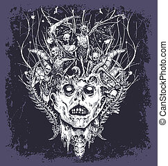 halloween demon - Halloween vector for T-shirt printed and...