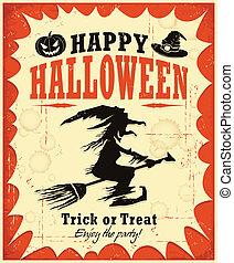 halloween, desi, affisch, häxa, årgång