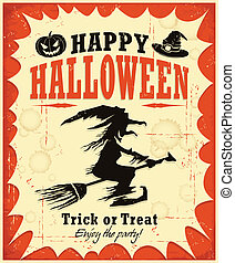 halloween, desi, plakat, hexe, weinlese