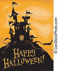 Halloween Design - Silhouette of a Creepy-Looking Castle...