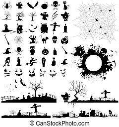Halloween Design Element - illustration of set of halloween...