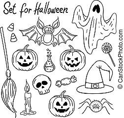 Halloween design elements Hand-drawn illustration.