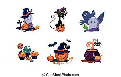 Halloween design elements set, scary symbols vector Illustration