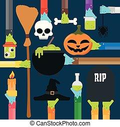 Halloween design flat set.