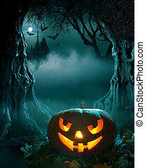 Halloween design, glowing pumpkin in a dark scary forest...