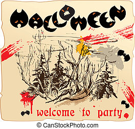 Halloween design invitation card