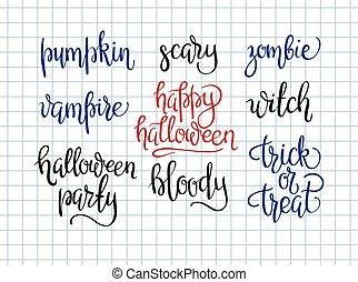 Halloween,  design, Kollektion, lycklig