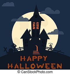 Halloween design template. Spooky landscape with castle, Zombie and Grim reaper. Vector illustration
