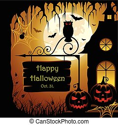 Halloween Design - Vector illustration of an abstract spooky...
