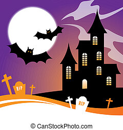 Halloween Design with a haunted house and bats