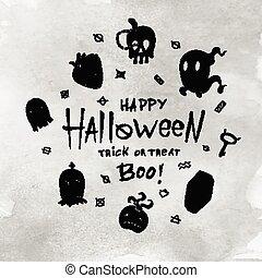 halloween, dessin animé, card.
