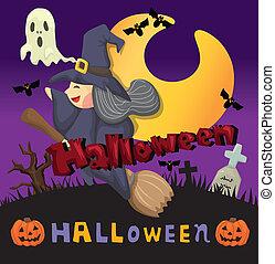 halloween, dessin animé, carte