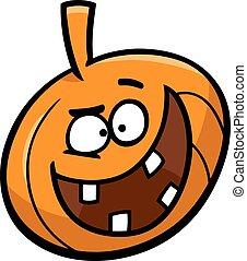 halloween, dessin animé, illustration, citrouille