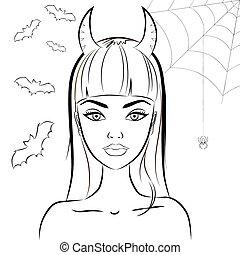Halloween devil girl with horns. Outline vector