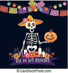 Halloween, Dia de los Muertos greeting card. Mexican Day of...