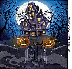 halloween, dietro, confortevole, casa, pietra, felice, frequentato, parete