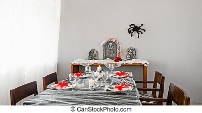 Halloween dinner table setup