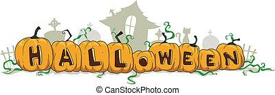 Halloween Divider - Illustration of Pumpkins Forming the...