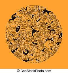 Halloween doodle art illustration.