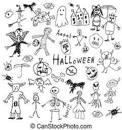 Halloween doodle - doodle halloween holiday background