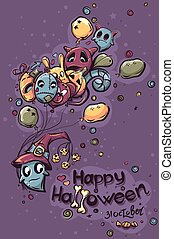 Halloween doodles illustration - Ghost with the balls
