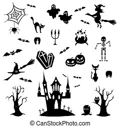 Halloween doodles set.