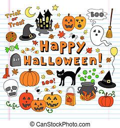 halloween, doodles, vektor, ikone, satz