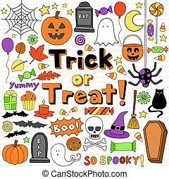 halloween, doodles, wektor, komplet