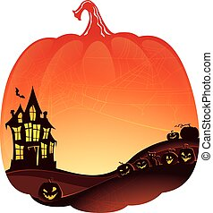 Halloween Double Exposure background with haunted house and...