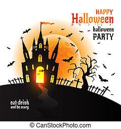 Halloween Dracula s castle. Vector illustration on white.